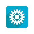 Flower, colored flat icon on a white background for design, logo. Vector illustration