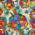 Flower colorful bird stylish seamless pattern Royalty Free Stock Photo