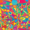 Flower colorful style rainbow line connect full page seamless pattern