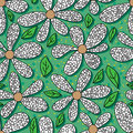 Flower coloring green background seamless pattern Royalty Free Stock Photo