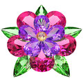 Flower composed of colored gemstones on white Stock Image