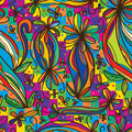Flower curl draw rainbow colorful seamless pattern