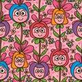 Flower cute mascot vertical seamless pattern