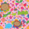 Flower cute music note seamless pattern