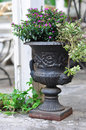 Flower deco bar terrace outdoor belle epoque vase Royalty Free Stock Image