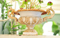 Flower deco bar terrace outdoor belle epoque vase Stock Photo