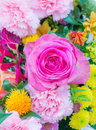 Flower deco with pink rose and other flowers Royalty Free Stock Photo