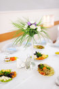 Flower decoration on festive table at restaurant Royalty Free Stock Photos