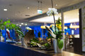 Flower decoration at hotel reception Stock Photography