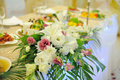 Flower decoration white of wedding table Royalty Free Stock Photography