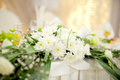 Flower decoration white of wedding table Stock Photo