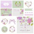 Flower Design Elements for Baby Shower or Wedding Royalty Free Stock Photo