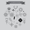Flower design elements icons with outline style ,vector illustra Royalty Free Stock Photo