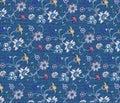 Flower embroidery on denim fabric