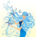Flower fairy with butterflies. Vector illustration Stock Image