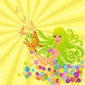 Flower fairy with butterflies. Vector illustration Royalty Free Stock Photography