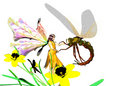 Flower Fairy and Dragonfly Stock Photography