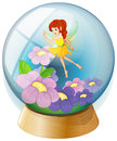A flower fairy inside the crystal ball illustration of on white background Royalty Free Stock Image