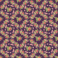 Flower and feather wreath seamless pattern with purple background Royalty Free Stock Photo