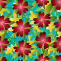 Flower five petal summer red seamless pattern Royalty Free Stock Photo