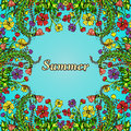 Flower frame, border, card, summer ornament in the style of boho chic, hippie. Royalty Free Stock Photo