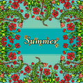 Flower frame, border, card, summer ornament in the style of boho chic, hippie. Abstract red flowers on a blue background Royalty Free Stock Photo