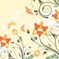 Flower frame with bud and butterfly vector background Stock Photos
