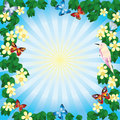 Flower frame with butterflies. Royalty Free Stock Photo