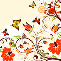 Flower frame with butterfly and blots vector background Stock Photo