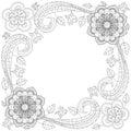 Flower frame coloring book vector illustration