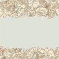 Flower frame. Floral seamless border. Vintage flourish textured