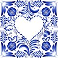 Flower frame in the form of heart styling gzhel vector illustration Royalty Free Stock Image