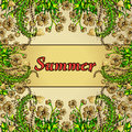 Flower frame, gold border, card, summer ornament in the style boho chic Royalty Free Stock Photo