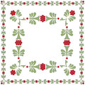 FLOWER FRAME GREEN RED Royalty Free Stock Photo