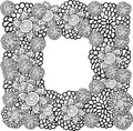 Flower frame vector graphic card with stylized fantastic black and white flowers Royalty Free Stock Photo