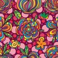 Flower fruit square seamless pattern Royalty Free Stock Photo