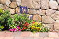 Flower garden along stone wall Royalty Free Stock Images
