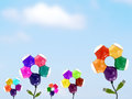 colorful usb hub with green usb head connector like flower blooming with leaf in flower garden and blue sky background Royalty Free Stock Photo