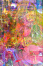 Flower garden in oil and pastel very nice large scale abstract painting on canvas Royalty Free Stock Photo