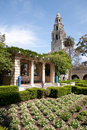 Flower garden and tower at Balboa Park, San Diego Stock Images