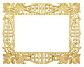 Flower gold frame Stock Photos