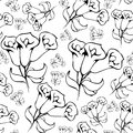Flower graphic. Vector floral hand drawn background pattern for decoration and design.