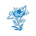 Flower gzhel blue floral pattern in style isolated on white vector illustration Royalty Free Stock Photo