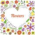 Flower heart background of doodles