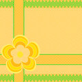 Flower on heart edging with zigzag edge on orange with dots large yellow background in a square format Stock Photos