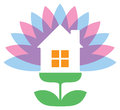 Flower house logo a icon of a design Royalty Free Stock Photos