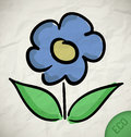 Flower icon crumpled paper eco tag Royalty Free Stock Photos