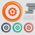 Flower icon on the red, blue, green, orange buttons for your website and design with space text. Royalty Free Stock Photo