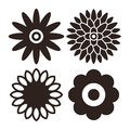 Flower icon set - gerbera, chrysanthemum, sunflower and daisy Royalty Free Stock Photo