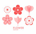 Flower. Icon set. Sakura Royalty Free Stock Photo